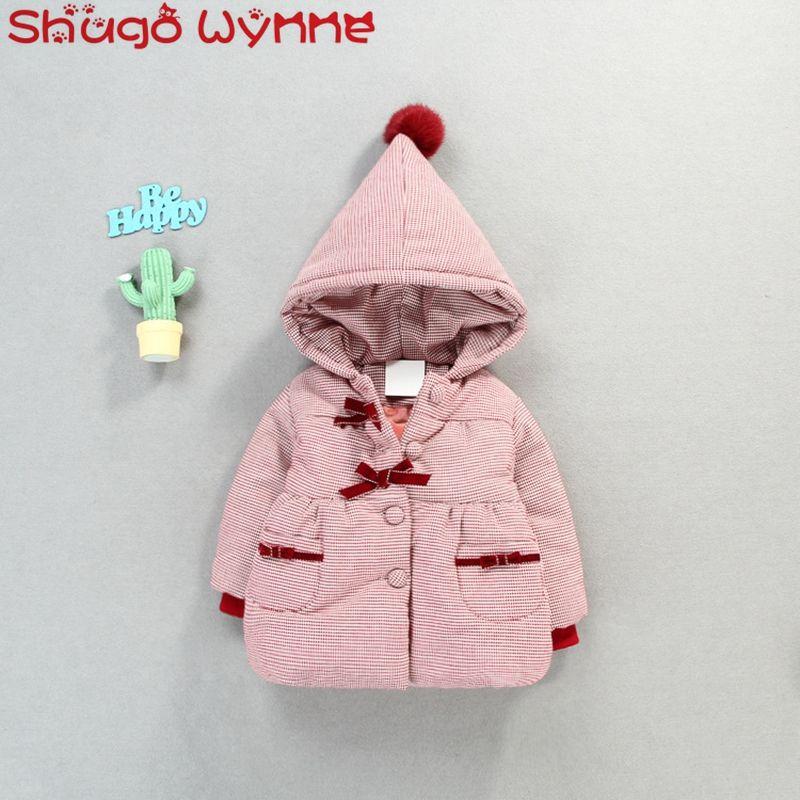 6b31b86a7 Winter Baby Girls Bow Hooded Thicken Fleece Princess Kids Snow Wear ...
