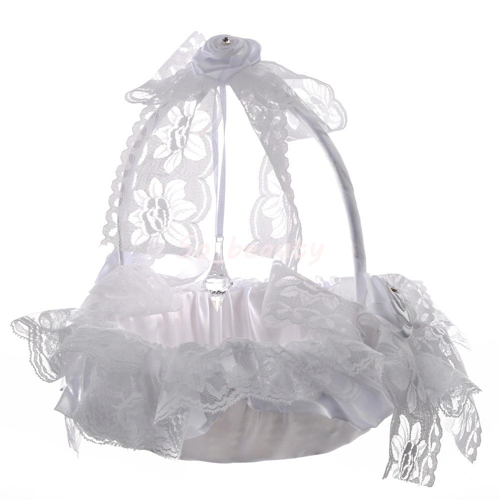 White Elegant Lace Flower Girl Basket Beautiful Round Silk Flower