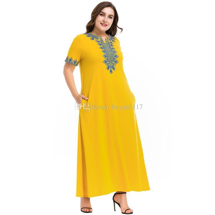 Women s Vintage Ethnic Embroidered Maxi Long Dress Brief Fashion Urban  Casual Ramadan Clothing Slim Plus Size Swing Dresses Women Casual Dresses  Muslim ... 57be5e5d0da6