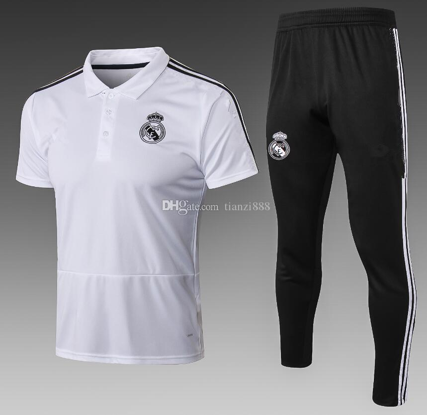 Compre 18 19 Real Madrid POLO Traje De La Camisa Ronaldo Kit De Fútbol 2018  2019 Real Madrid Camisetas De Fútbol KROOS ASENSIO Jersey De Entrenamiento  A ... 8ac27316196d4