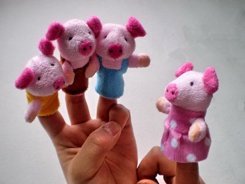 High Quality Three Little Pigs Finger Puppet Children Educational Fairy Tale Story Telling Plush Figer Toys Puppet