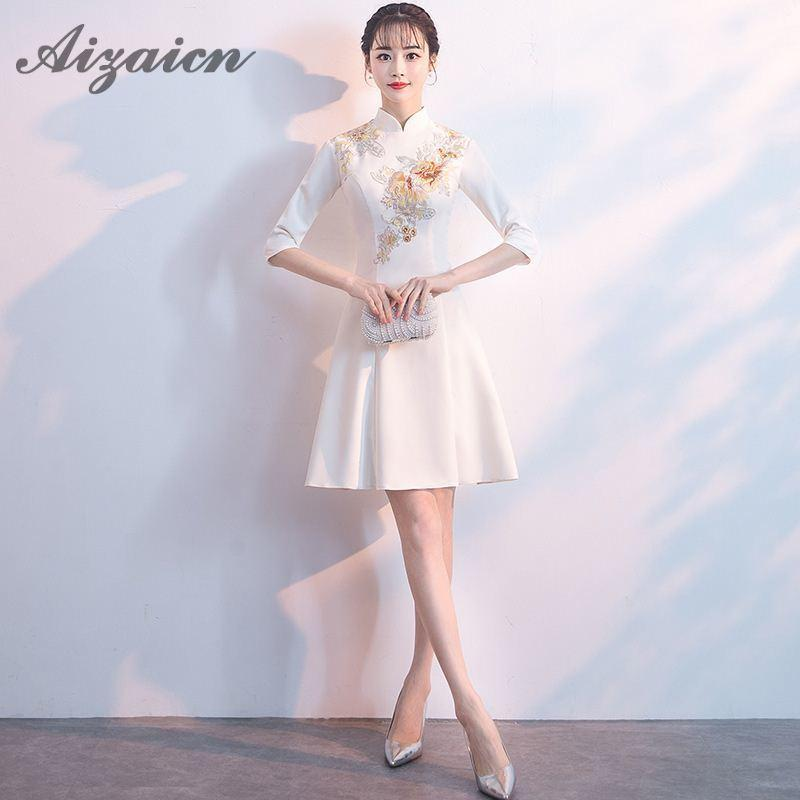 071b0a8c0de 2019 Summer White Modern Chinese Traditional Women Dress Mini Cheongsam  Sexy Qipao Embroidery Evening Gown China Asian Style Dresses From  Fullcolor