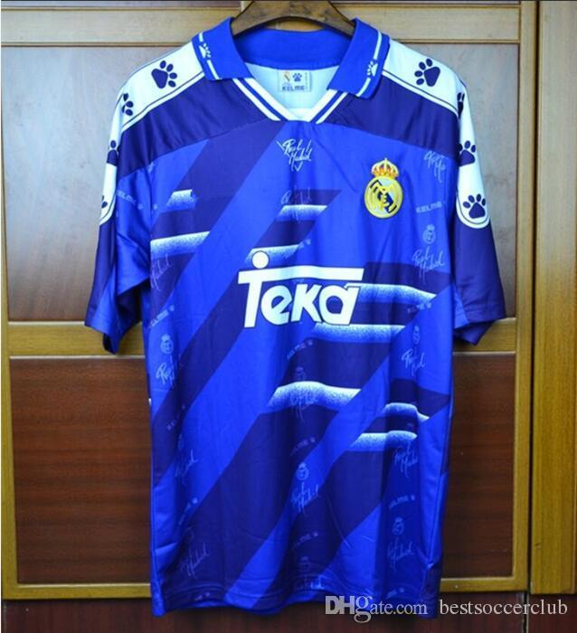 size 40 89bc3 3d2dd Best 94 95 96 Retro Soccer Jersey Real Madrid #7 Raul #9 Zamorano 6 Redondo  Football Shirts Vintage Calcio