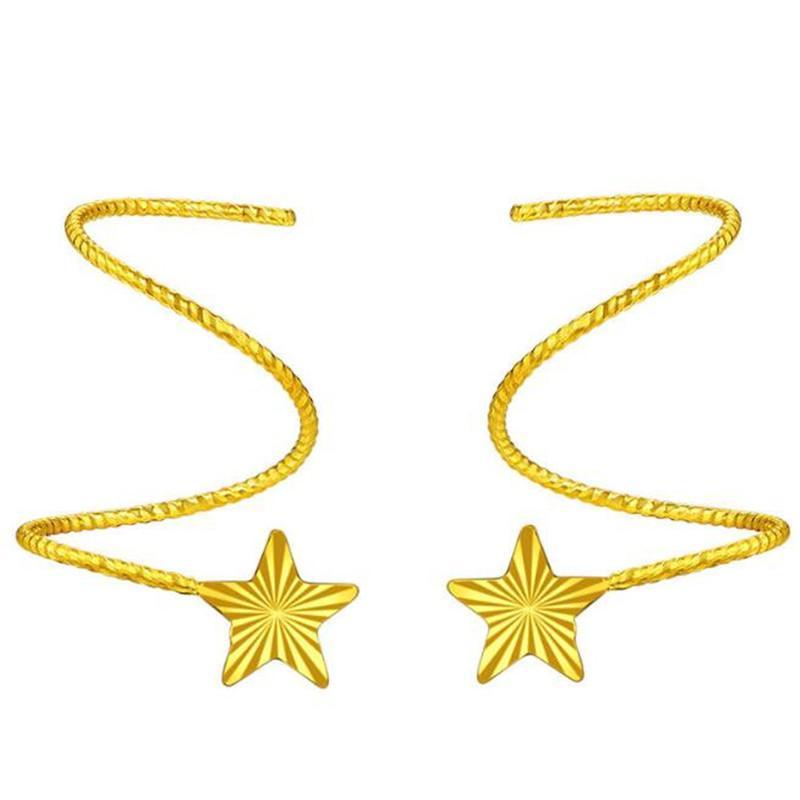 428bf690c6a0 Compre 18k Pendientes De Gota De Oro Puro Para Mujer Exquisita Joyería  Elegante De Mujer Estrella De Oro Amarillo Miss Miss Gift Para Cumpleaños  Venta ...