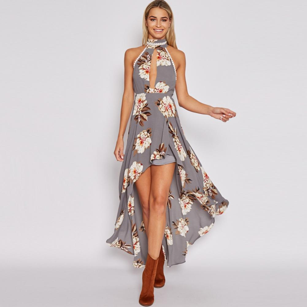 5c63c23f7403 Sexy Women Maxi Summer Dress 2017 Halter Neck Floral Print Backless Dress  Beach Asymmetrical Long Dress Gothic Vestido Longo White Cocktail Party  Dresses ...