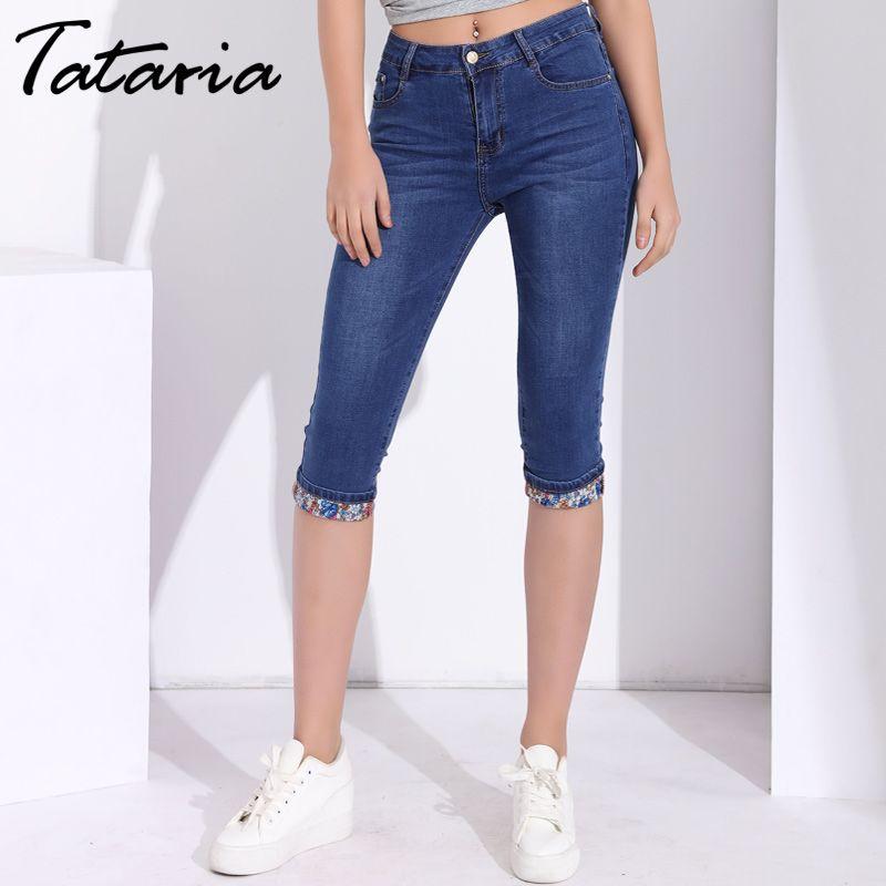 417155f70f6ab1 2019 Womens Jeans Denim Skinny Capri Pants Knee Length Capris Jeans ...