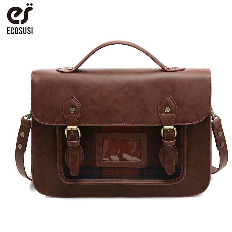 54e65ea6a659 2019 Fashion ECOSUSI Women PU Leather Handbag Retro Women Laptop Messenger  Bags Vintage Leather Briefcase Shoulder Bag Shoulder Bags For Women Handbag  Sale ...