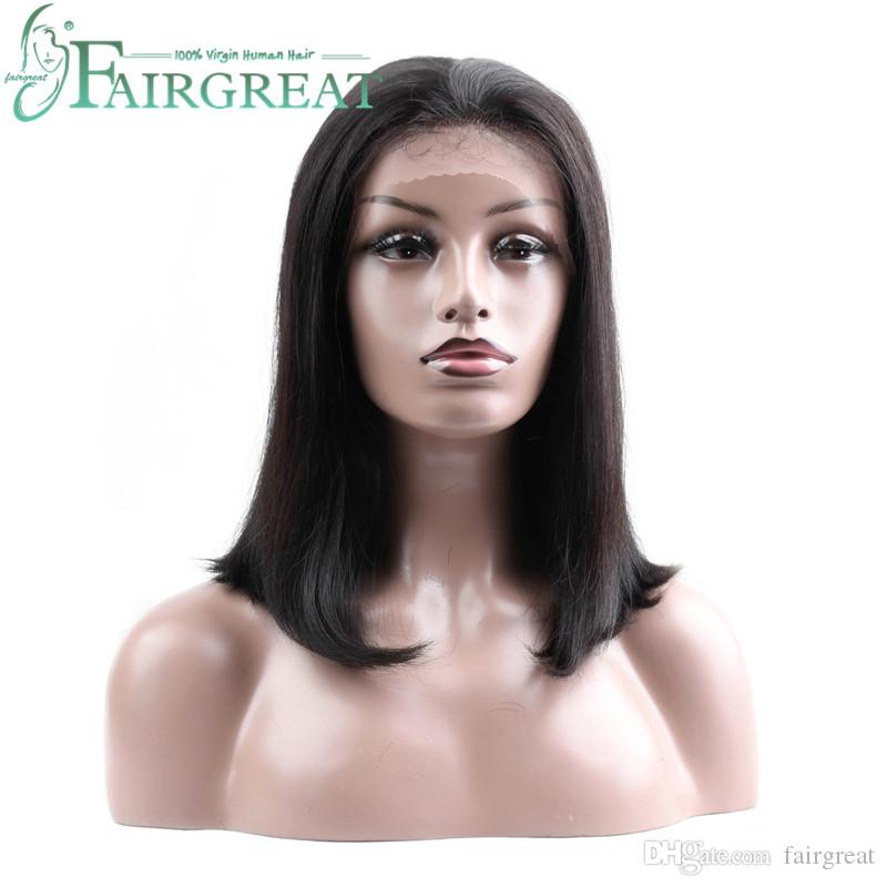 Fairgreat Brazilian Hair Lace Front Human Hair Short Bob Wigs For Women Black 2# 4# Color Brazilian Remy Human Hair 130% Density Wigs