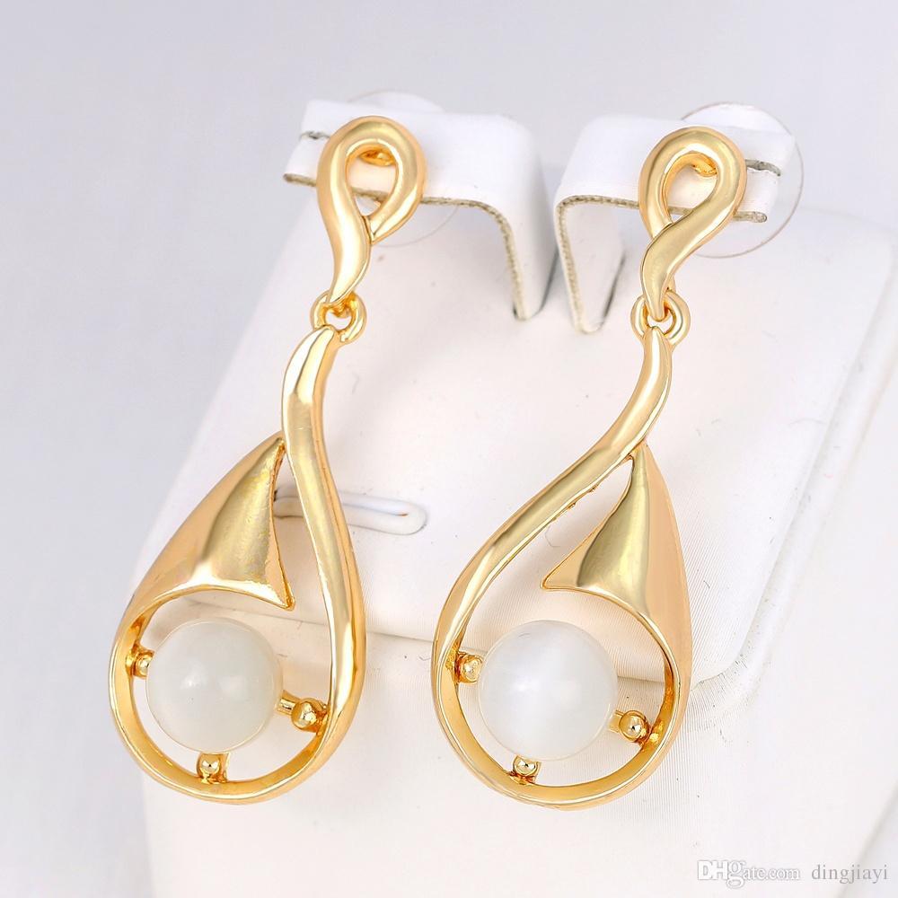 الأزياء والمجوهرات قطرات الماء أقراط اللؤلؤ الجوف سبيكة تصفيح KC مجوهرات أقراط النساء