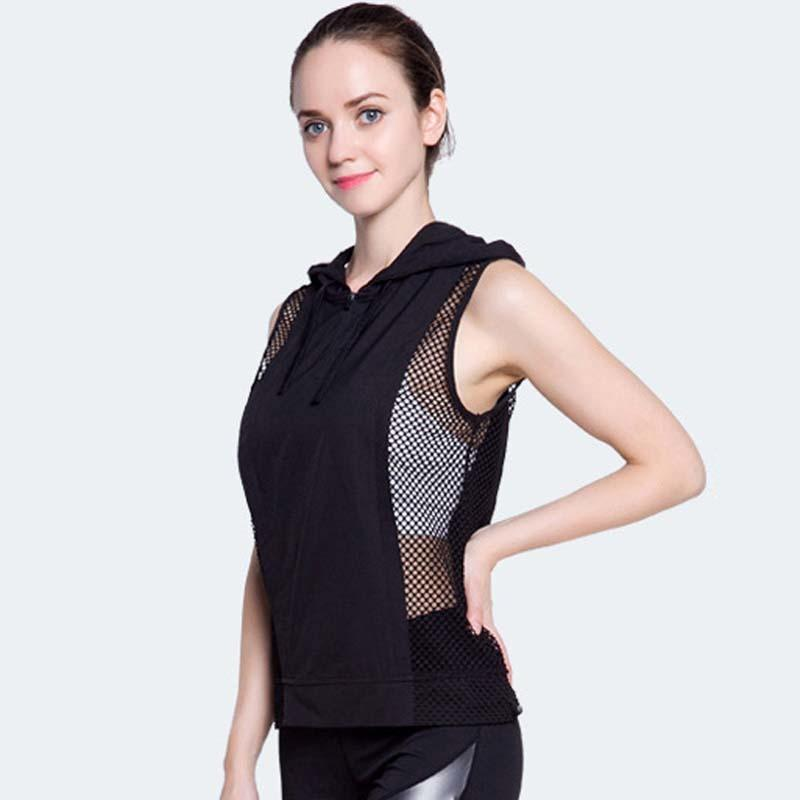 55923c6c5e44 2019 Dry Quick Force Exercise Sporting Tank Tops Fitness Sleeveless Hooded  Vest Sexy Mesh Splice Loose Tank Top For Women DropShip S915 From Ruiqi02