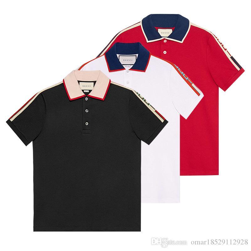 Compre 2018 Mais Recente Moda Masculina Marca Polo T Shirt Gola De Algodão  Clássico T Shirt De Manga Curta T Shirt G Listrado Amantes Meninas Mulheres  ... 04ccf5ef27800