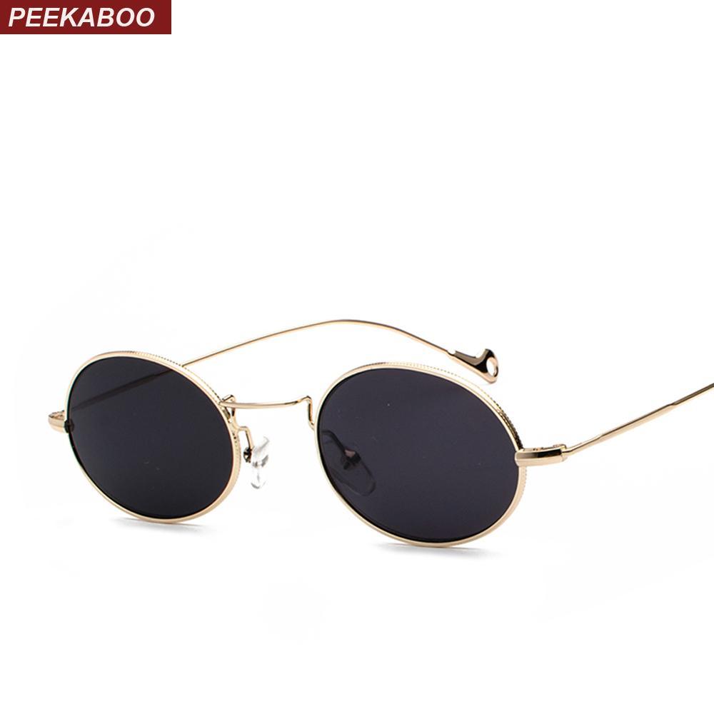 c3b2b324e8 Compre Peekaboo Gafas De Sol Ovaladas Pequeñas Hombres Retro Marco De Metal  Negro Rosa Amarillo Azul Rojo Gafas De Sol Para Mujeres 2018 Uv400 A $14.72  Del ...