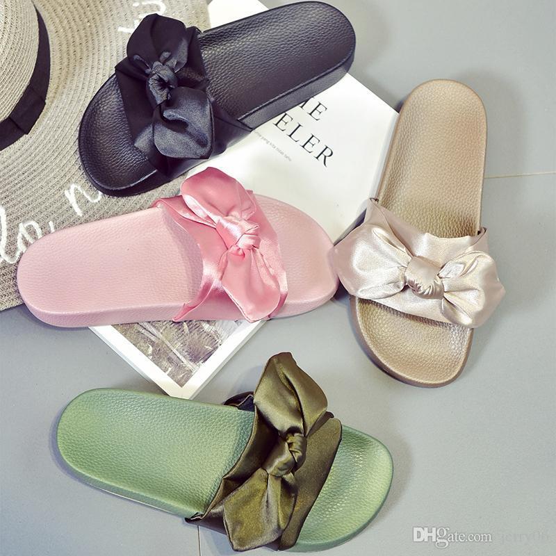 Silk Bow Slides Women Summer Beach Shoes Woman No Fur Slippers Flat Heels  Flip Flops Ladies Rihanna Bohemia Sandals Moccasins For Men Shoe Sale From  Jerry06 ... 346577451