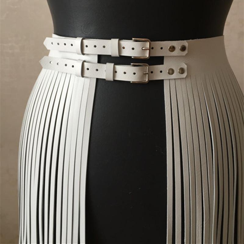 hot sales 4e91a b7df0 Moda donna regolabile in ecopelle cintura in vita con frangia gonna nappa  doppia cintura Inghilterra elegante GPD8551