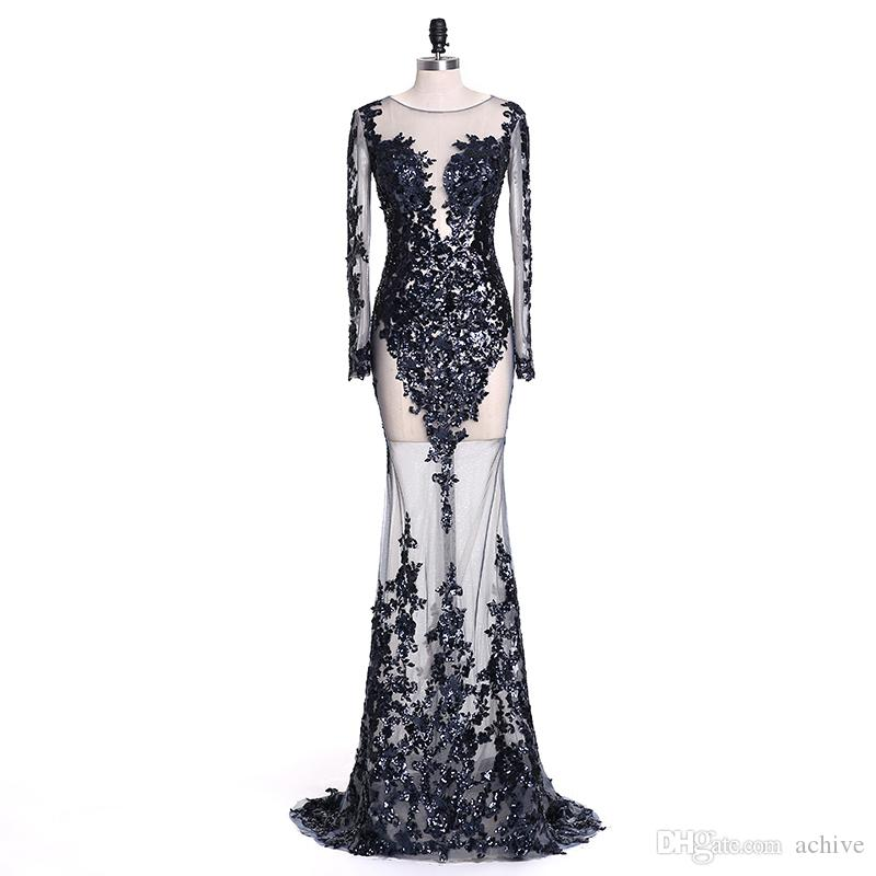 2018 Sexy Mermaid Prom Dresses See Through Long Sleeve Prom Dress Sequins Evening Gowns Black and Appiqued Long Formal Gowns Party Dresses