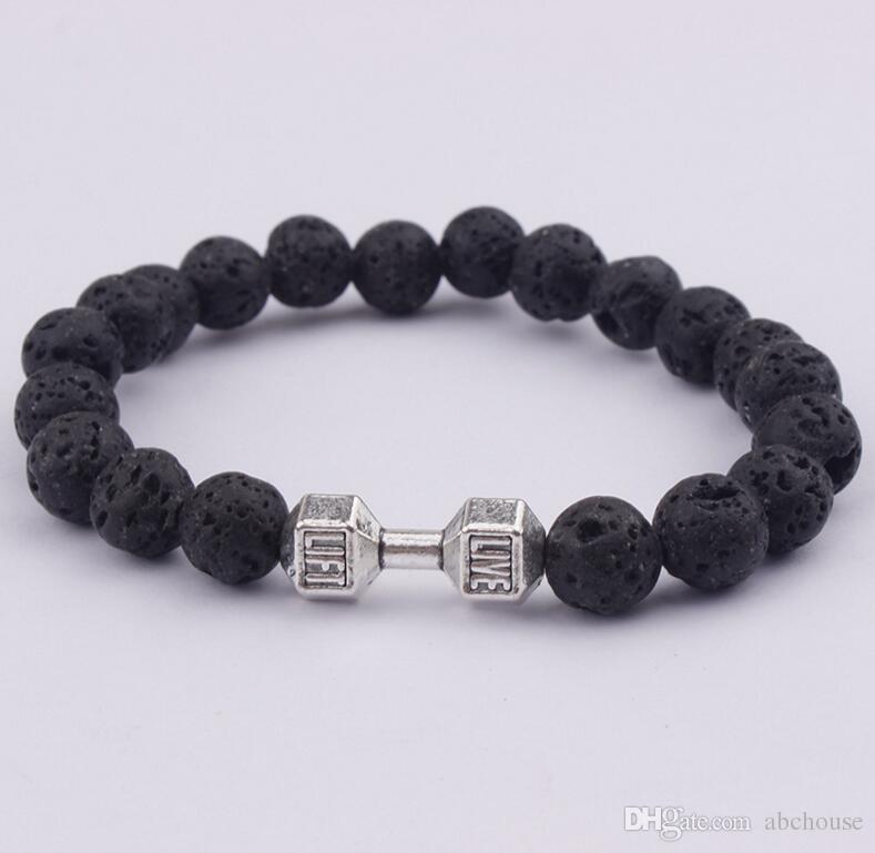 Mens Geschenk Großhandel Neue Ankunft Legierung Metall Barbell Lava Rock Stein Perlen Fitness Mode Hantel Armbänder 30 stücke