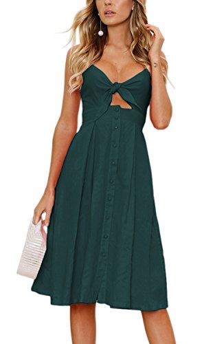 92604d49549 ECOWISH Womens Dresses Summer Tie Front V Neck Spaghetti Strap Button Down  A Line Backless Swing Midi Dress Summer Lace Dress Black Women Clothing  From ...