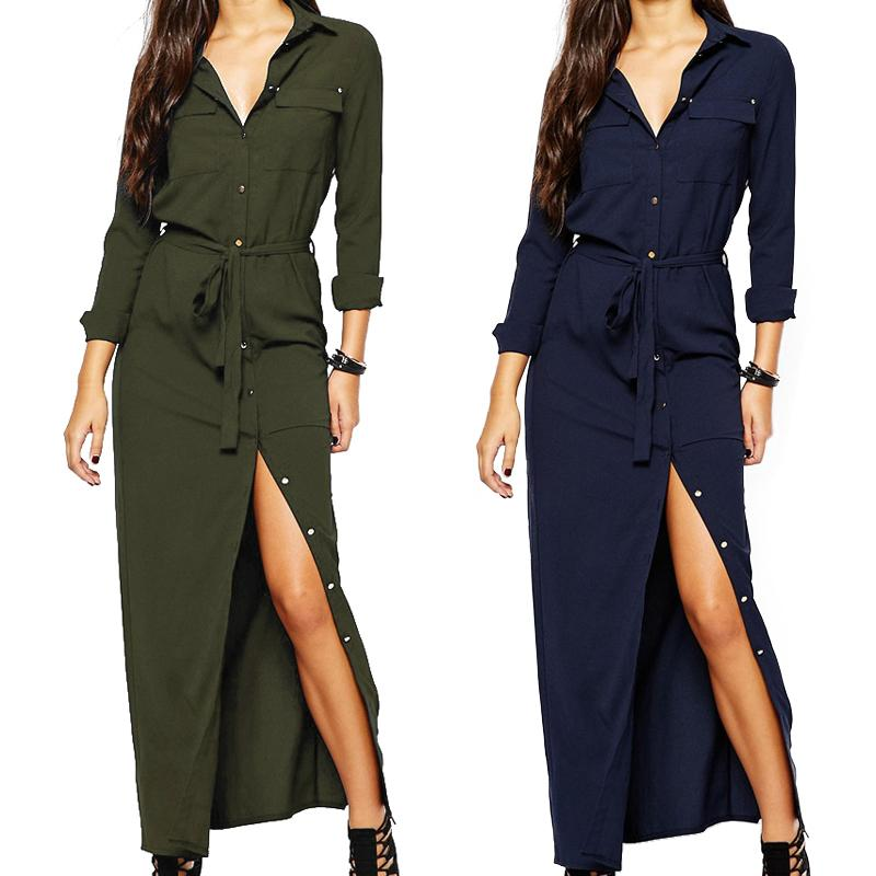 9f7233d69c4454 Women Long Sleeve Maxi Dress Spring Fashion Collar Buttons Long Shirt  Dresses Open Slit Women Casual Dress Green Blue Designer Dress Clubbing  Dresses From ...