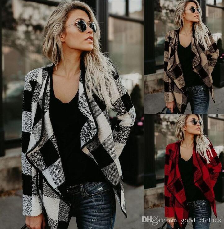 Women Irregular Plaid Cardigan Loose Sweater Jacket Coat Tops Cardigan Loose Sweater Outwear Long Sleeve Jacket Coat LJJK1107