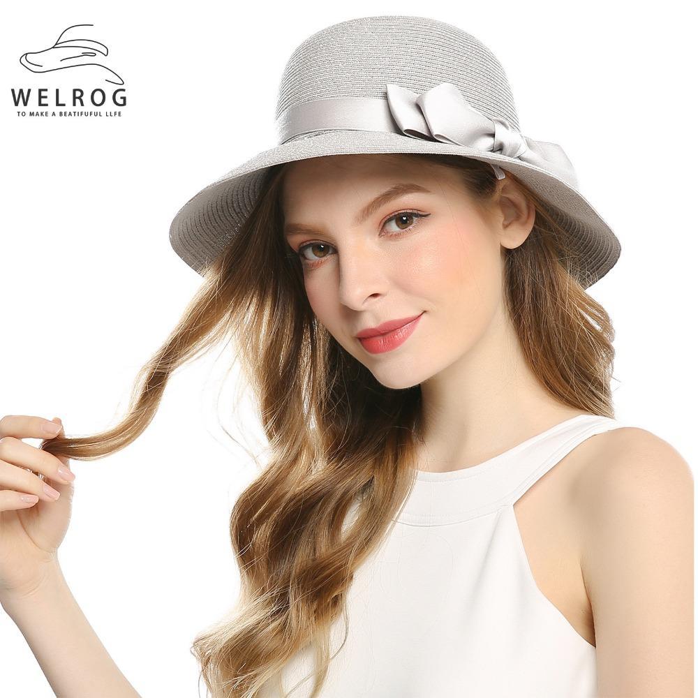 Compre WELROG Para Mujer Floppy Paper Straw Trenzado Gorra Para Mujer  Verano Sol Playa Sombrero De Paja Plegable De Ala Ancha 56 58cm Arco  Sombreros De Sol ... 173377f9040