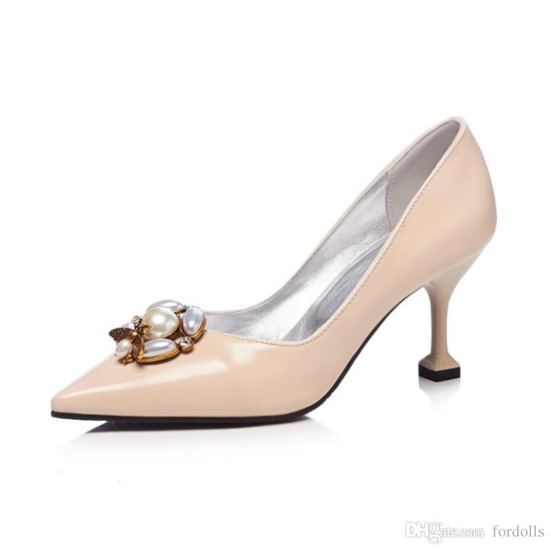 c3261cafd0c Classics Leather Office Shoes Pump Low Heels Women Pumps Bead ...