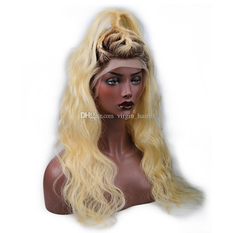 1b 613 금발의 몸매 웨이브 인간의 머리카락 이발 2 톤 블랙 금발의 전체 레이스 가발 # 613 인간의 머리카락없는 가발 빠른 배송