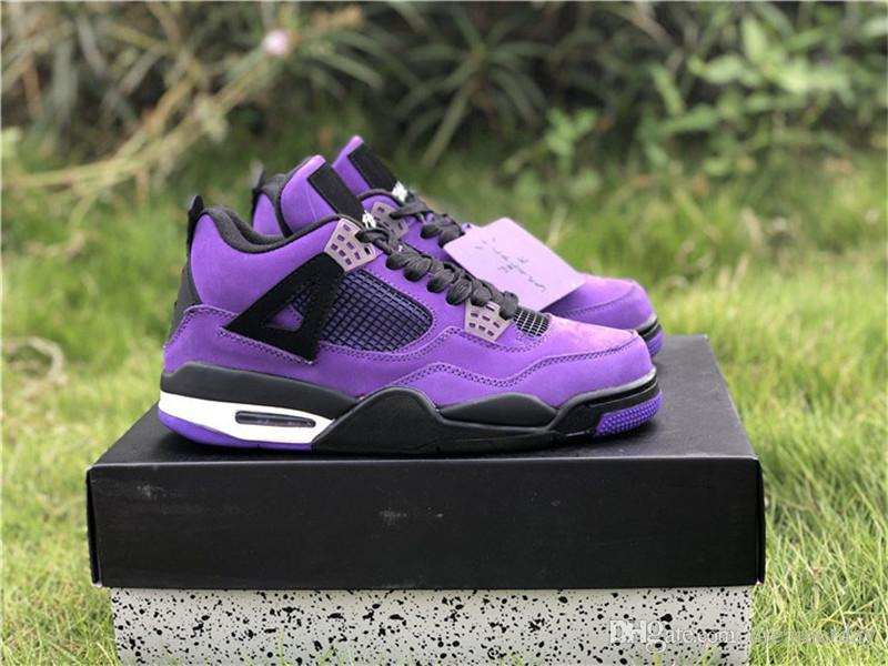 7b02512ebd4a 2019 2018 Release 4 X Travis Scott 4S Cactus Jack IV Purple Blue Basketball  Shoes Suede Sports Sneakers Authentic Quality With Box 308497 510 From ...