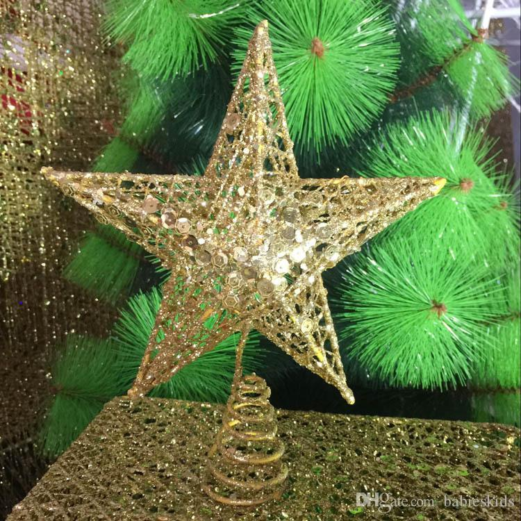 6a2d51c4fb16 stars christmas tree star topper iron bling golden xmas tree ornaments new  year home decoration party