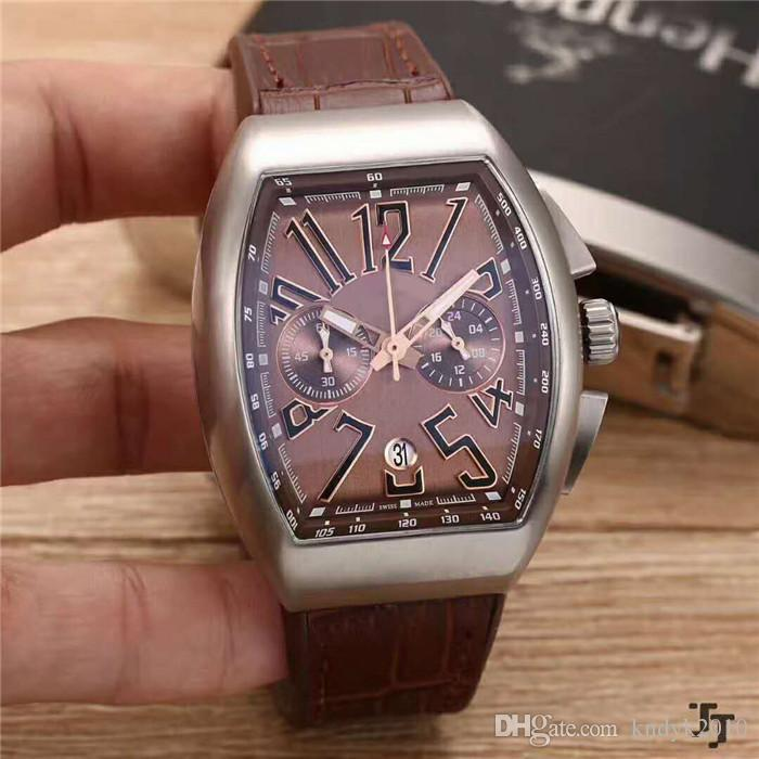 Casual Brand Classic Japan VK Quartz Mineralized steel glass surface 904L Stainless Steel Case Leather strap+Pin buckle Men watch