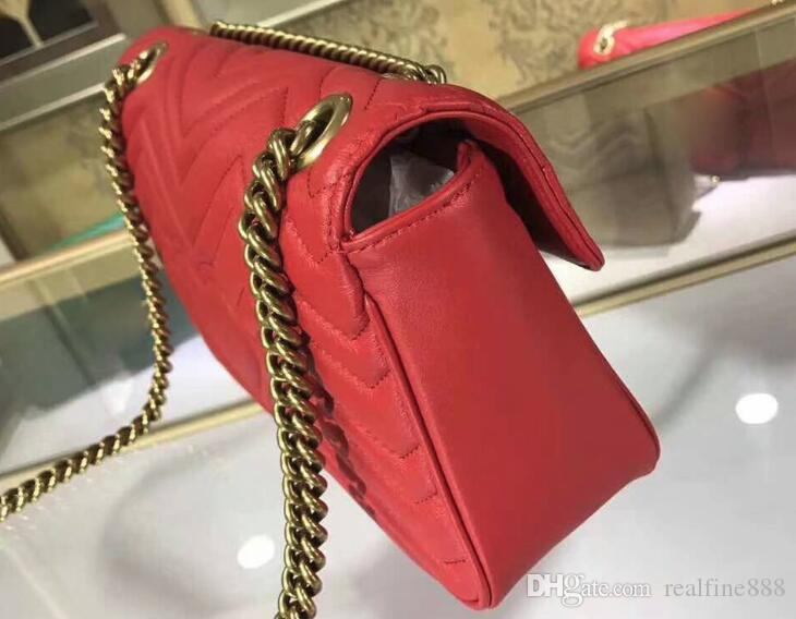 AAAAA Quality 443497 26cm Marmont Matelassé Leather Shoulder Bag,Antique gold-toned hardware,Flap spring closure,with Box Dust Bag
