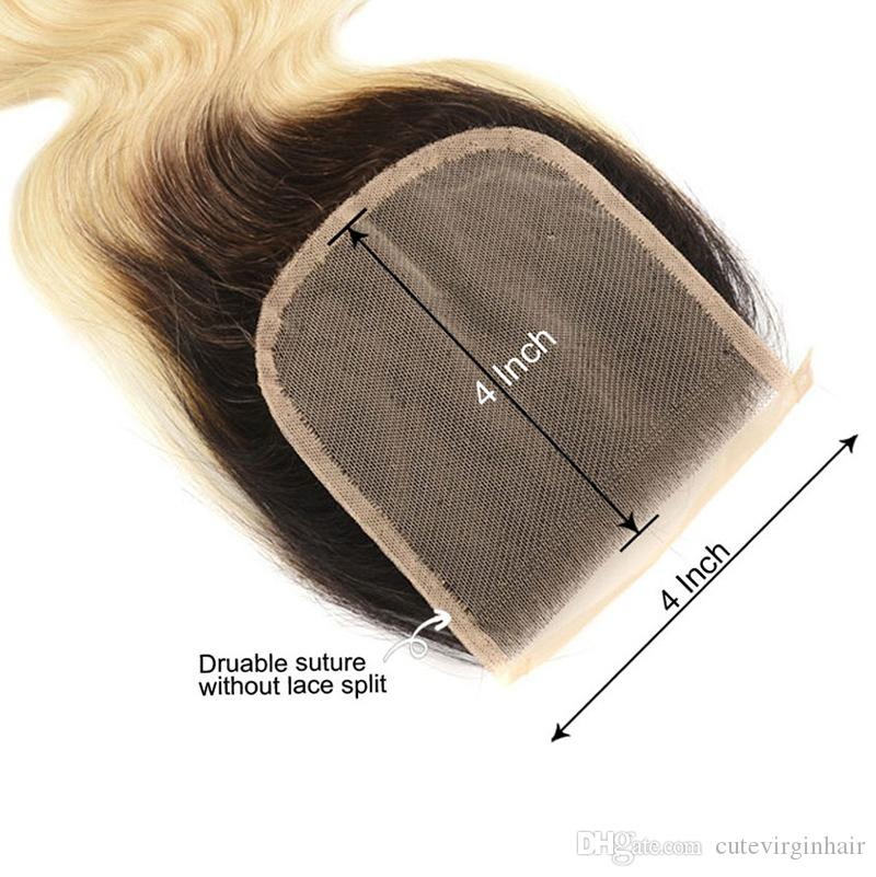 High Quality Human Hair Bundles with Lace Closure Frontal 613 1B/613 Ombre Blonde Hair Wholesale Vendors Brazilian Straight Body Wave Hair