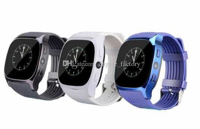 Para Android Novo T8 Bluetooth Pedômetro Inteligente Relógios Suporte SIM Cartão TF Com Câmera de Sincronização Chamada Mensagem Dos Homens Das Mulheres Relógio Smartwatch Navio Livre