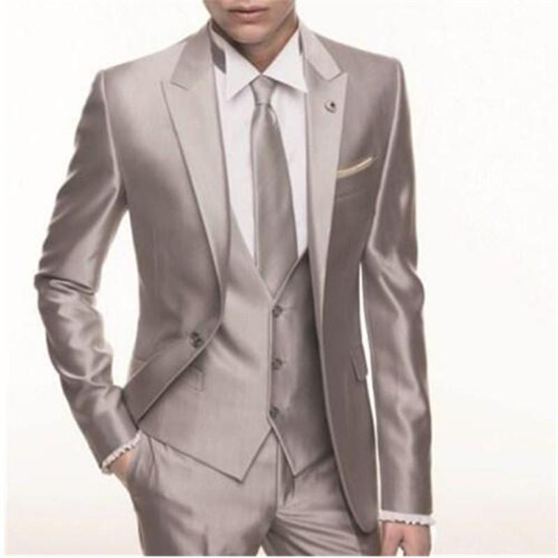 7e4bcdec1 Compre Brillante Traje De Boda Para Hombres 3 Piezas Chaqueta + Pantalón +  Chaleco + Corbata Último Diseño Novio Novio Esmoquin Por Encargo Blazer De  Moda A ...