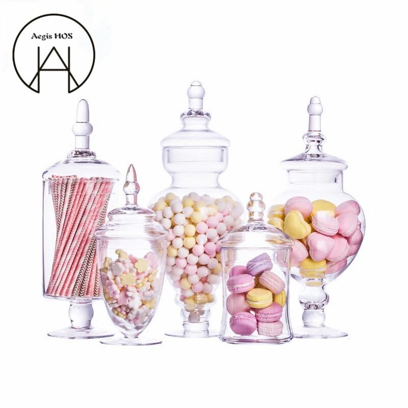 Cool New Transparent Glass Candy Jar Hotel Wedding Dessert Storage Bole Dinner Table Decorative High Striped Cover Storage Tank Download Free Architecture Designs Terstmadebymaigaardcom