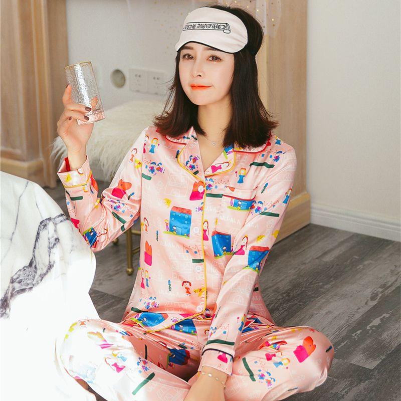 New Arrival Silk Pijama Sleepwear Casual Homewear Suit Silk ... cb459dea9