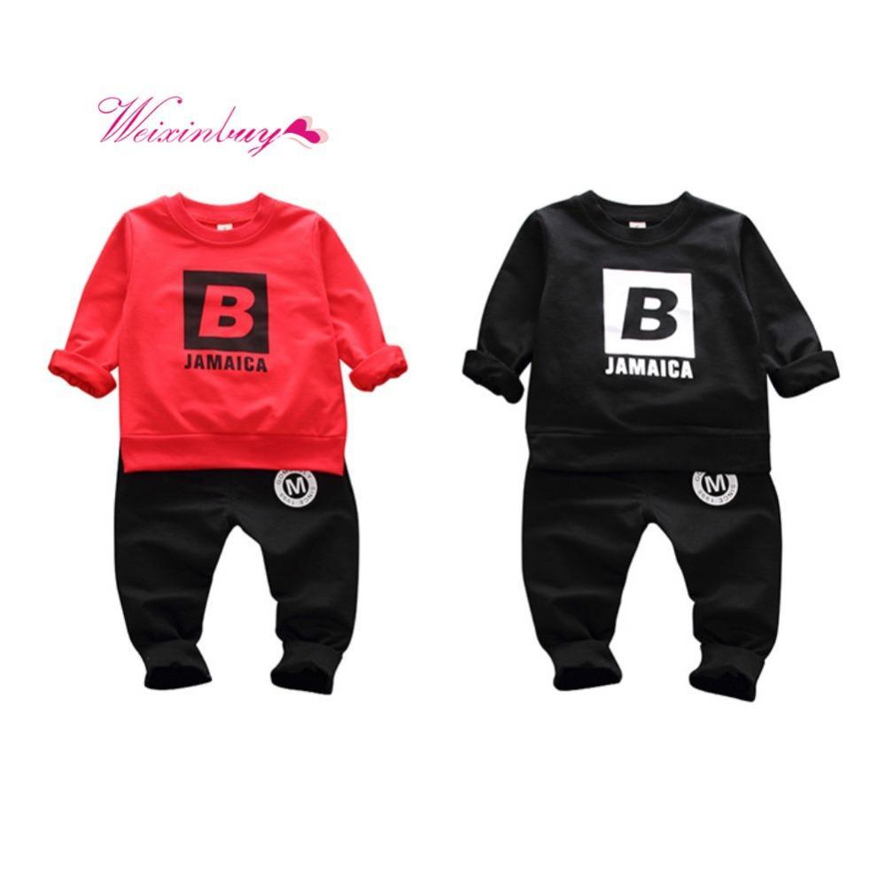 66887f80e Newborn Baby Boy Clothes 2018 Autumn Baby Boys Clothes Set SweaterShirt  +Sports Pants Outfits Set Infant Boys Clothing