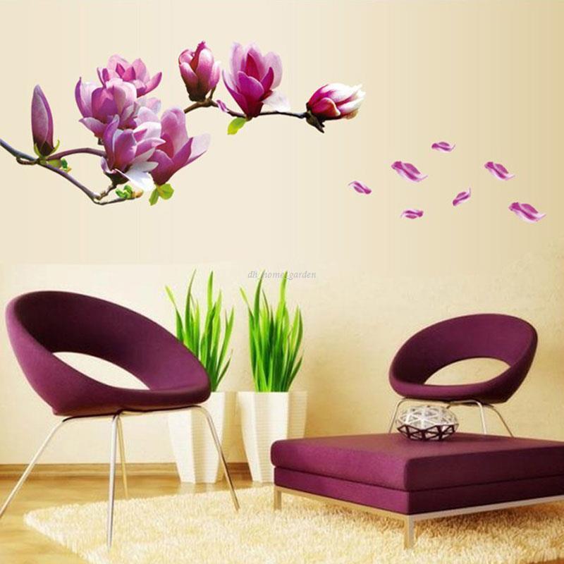 Großhandel Lila Magnolia Flower Wandaufkleber Schlafzimmer Salon ...