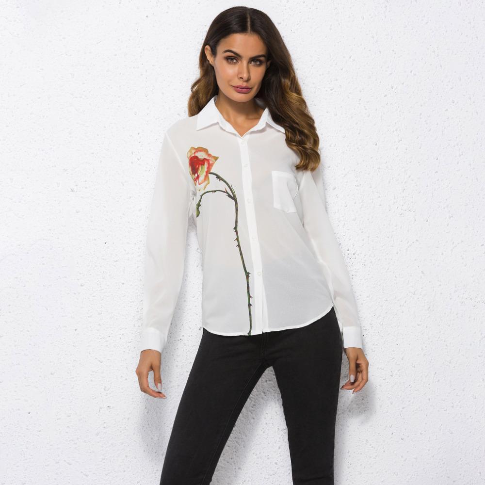 298f002a71e9d Satın Al Uzun Kollu Kadın T Shirt Tops Beyaz Bir Çiçek Nakış Turn Down Yaka  Rahat Yaz Sonbahar Sıcak Kadınlar Blusas Gömlek, $22.46 | DHgate.Com'da