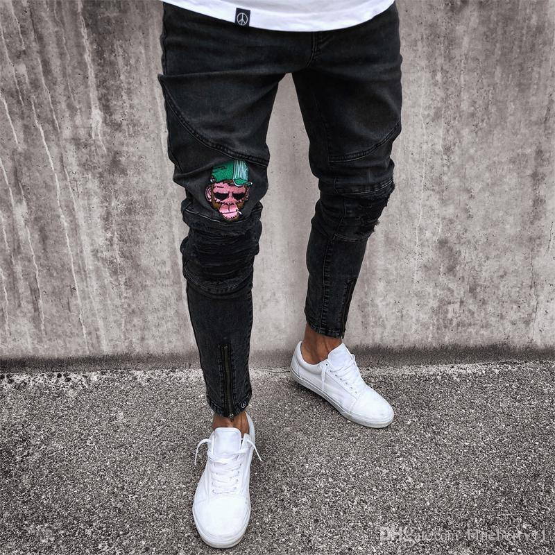 f6e2555ff5 2019 Designer Mens Skinny Jeans Black Blue Rip Slim Fit Stretch Casual Denim  Street Wear Biker Jeans Hole Hip Hop Jeans S 4XL From Blueberry11