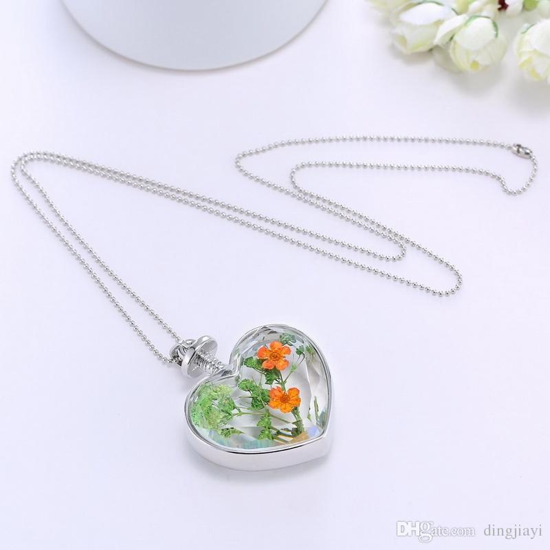 Moda Cam Collares Yeşil Kuru Çiçek Kristal Cam Kalp Kolye Kolye Gümüş Uzun Zincir Kadınlar Için Kolye Güzel Jewerly