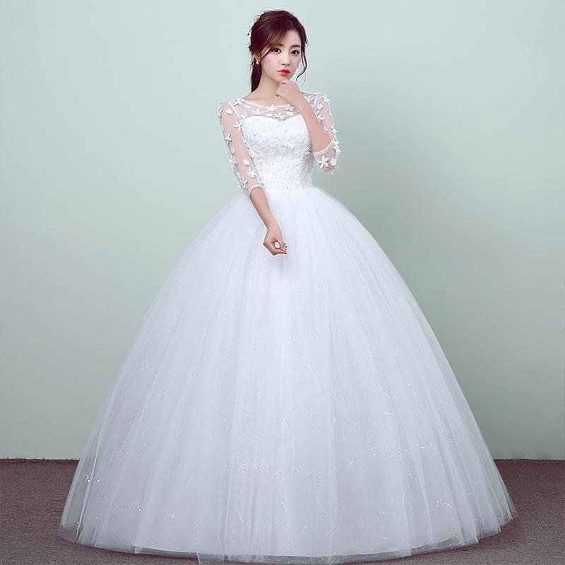 Korean Wedding Gowns: New Style Lace 3 Quarter Wedding Dress Korean Style Simple