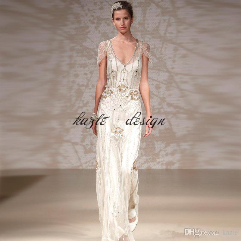 Great Gatsby Luxury Crystal Ggarden Wedding Dresses 2018 Modest Cap Sleeve full Beaded Country Bohemian Bridal Dress jenny packham