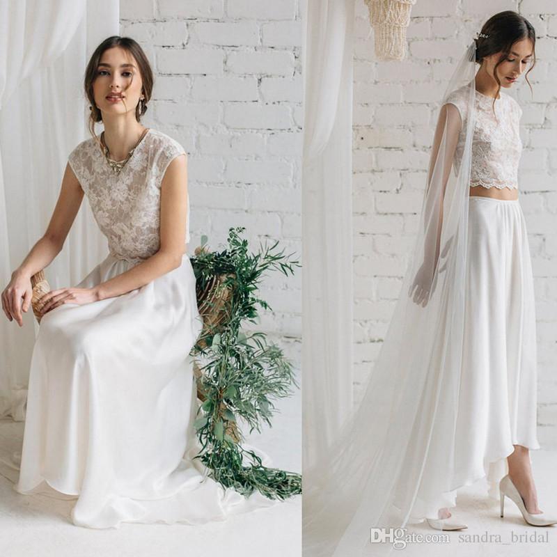 Discount Romantic Lace Crop Two Piece Beach Wedding Dress Open Back ...