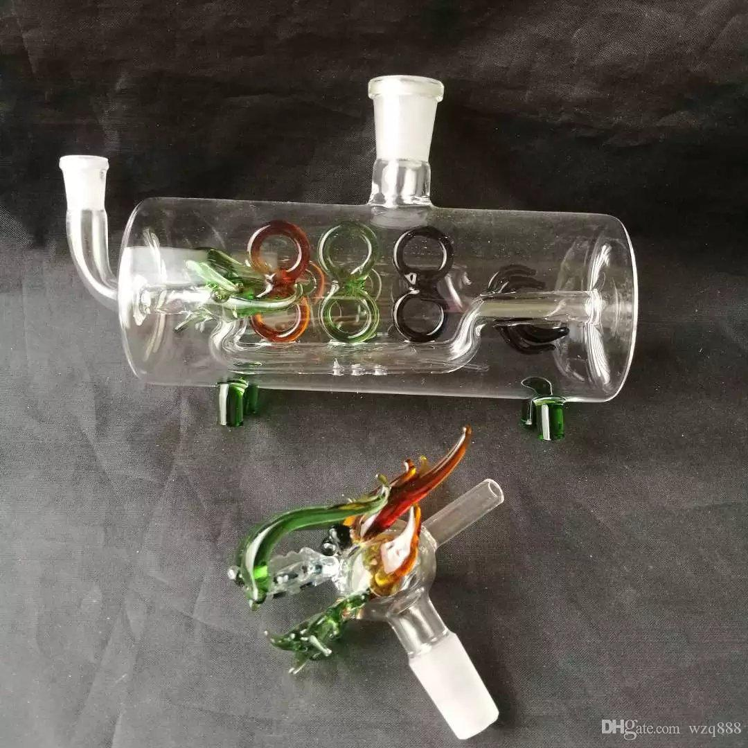 The horizontal pipe leading water pipe Wholesale Glass bongs Oil Burner Glass Water Pipes Oil Rigs Smoking Free