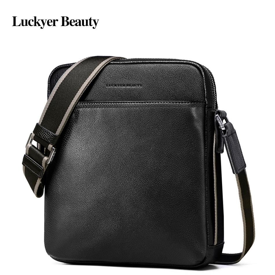 d7ffbfe5dba LUCKYER BEAUTY Brand Men Shoulder Bag Genuine Leather Business Casual  Crossbody Bag Zipper Work Satchel Messenger Bags 181 Bag Pink Bag of  Holding Messenger ...