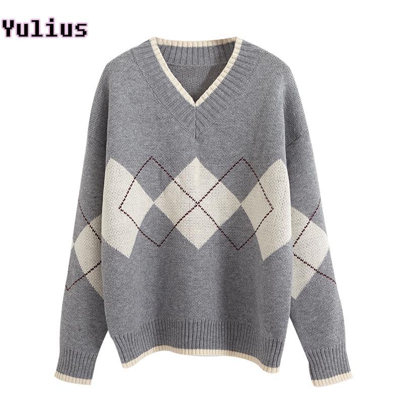 dd66acea855e Compre Casual Crochet Sweater Mujer Otoño Blanco Gris Negro V Cuello De Punto  Jersey Blusa Suéter De La Señora De Estilo Coreano Jumper A $32.04 Del  Jilihua ...