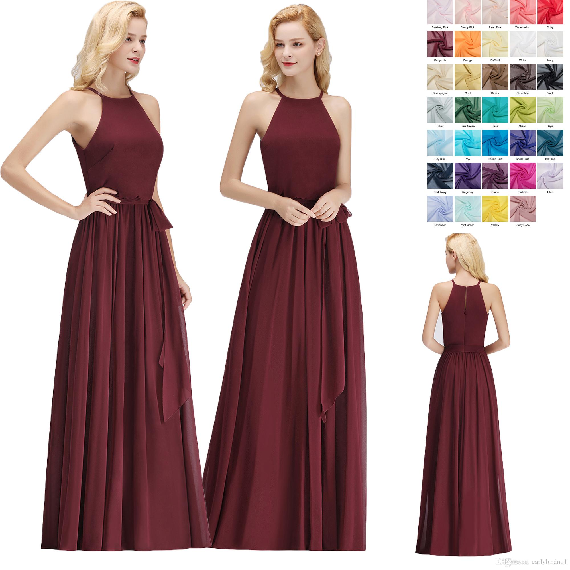 Custom Made Sexy Halter Simple Bridesmaids Dresses Burgundy Floor Length Chiffon with Sash Brautjungfer Kleider Maid of Honor Gown BM0035
