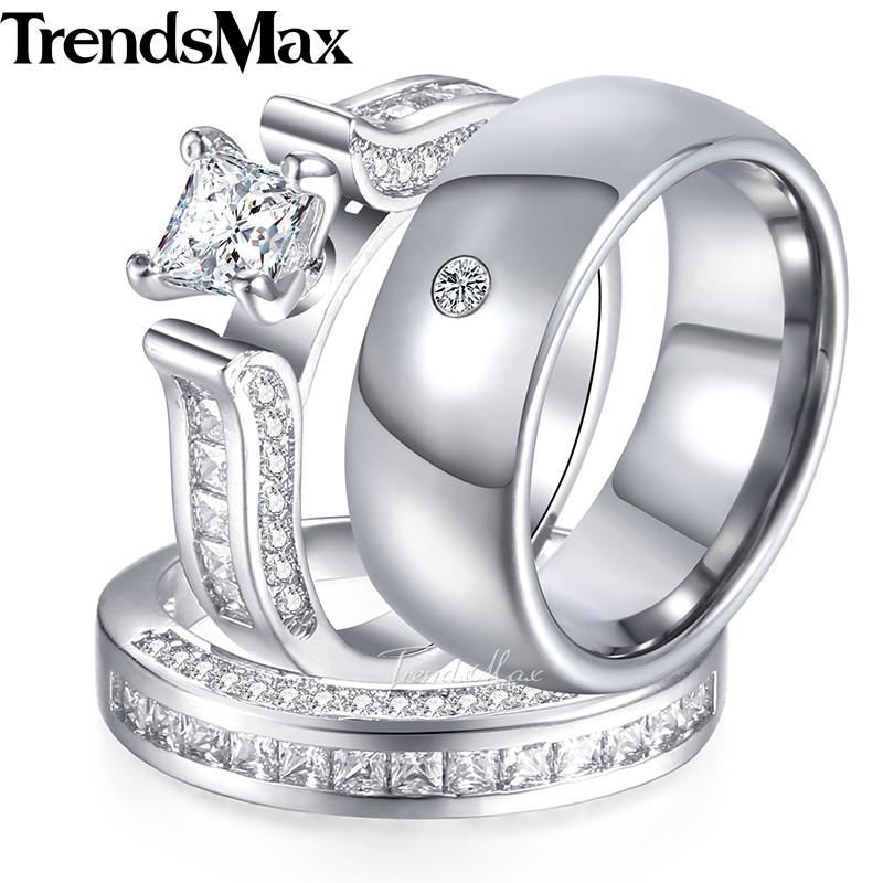 2018 Lover Gifts Couple Wedding Band Ring Set For Women/Men Paved ...