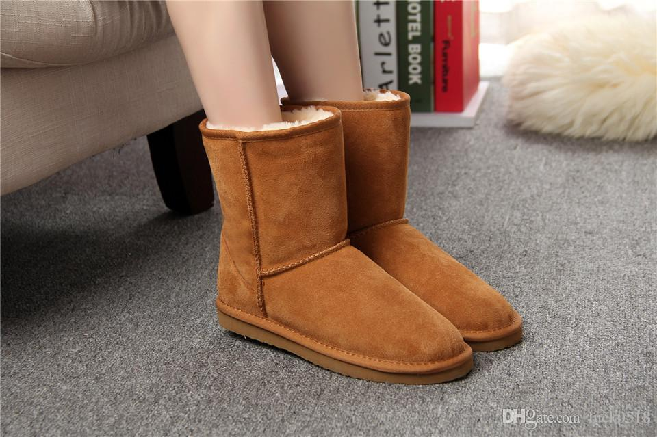 a828a2d36fb6 Australian Hot Sale 100% Genuine Leather Fashion Girls Winter Snow Boots  For Women Warm Winter Shoes Snowboard Boots Rubber Boots From Luck0518