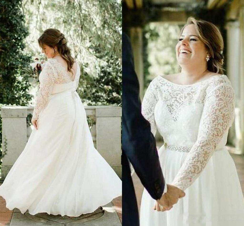 Discount 2018 Plus Size Wedding Dress A Line Lace Appliqued Long ...